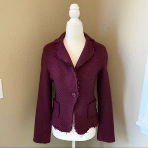 Zara Women | Tweed Fringe Burgundy Blazer Jacket